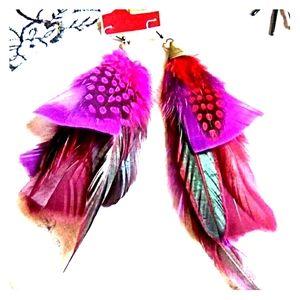 Purple Pink Feather Earrings, Tribal Style Jewelry
